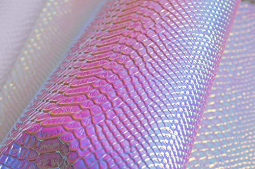 Wento Light Blue Snake Skin Holographic Leather Fabric shiny Snake Skin Leather stiff Material Holographic Leather.wide 54`` Sold By Separate Half Yard by Wento