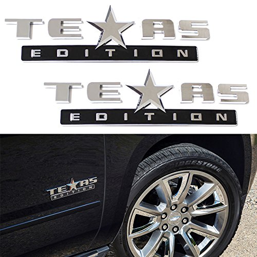 iJDMTOY (2) Chrome Finish 3D Texas Edition Emblem Badges For Chevrolet Silverado, GMC Sierra (Also Universal For Ford or Dodge (Chrome Chevrolet Emblem)