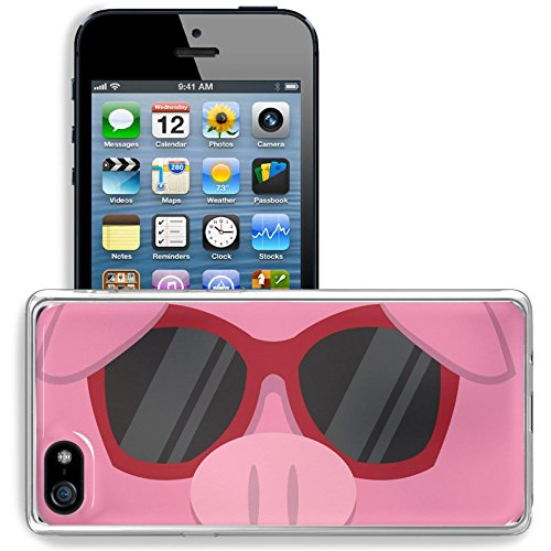 Liili Apple iPhone 5/iPhone 5S/iPhone SE Clear case Soft TPU Rubber Silicone Bumper Snap Cases iPhone5/5S IMAGE ID: 18010975 Cartoon pig head with - With Pig Sunglasses