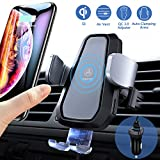 VANMASS Wireless Car Charger Mount, Automatic Clamping 10W 7.5W Qi Fast Charging Mount, Air Vent Phone Holder with QC 3.0 Fast Charger, Compatible with iPhone Xs Max XR X 8, Samsung S10 S10e S9 Note 9