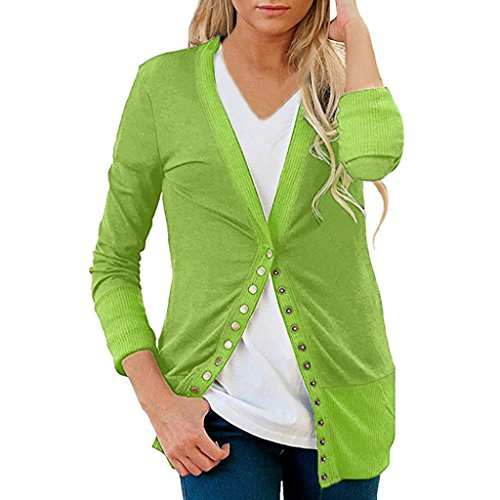 iTLOTL Women's Loose Breathable Sweater Simple Cardigan Home Casual Party Warm Tops(Green,US-4/CN-S)
