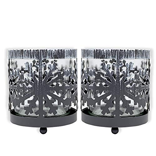 BANBERRY DESIGNS Snowflake Candle Holders - Set of 2 Rustic Metal Snow Flake Holders with Glass Votive Candle Inserts - Christmas Candle Centerpieces- Winter Decorating
