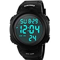 Watches,Mens Watches,Military Digital Watch,Waterproof,Sport Watch,Outdoor LED,Big Face,50M Water Resistant Black...