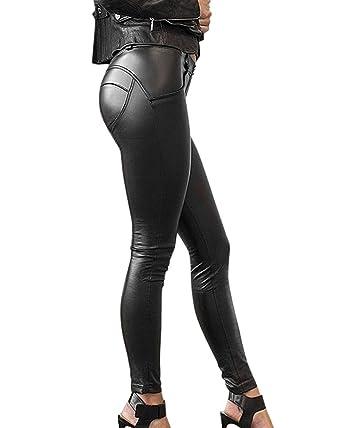Minetom Femmes Sexy Taille Haute Moulante Élastique Leggings Aspect Cuir PU  Crayon Slim Collants Sport Danse ca1a442317c