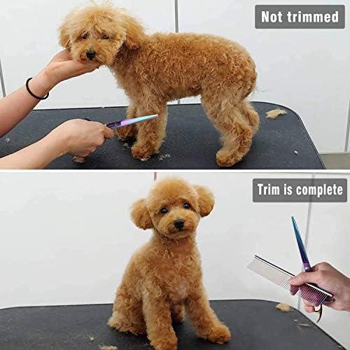 Tijeras para Mascotas, Sendowtek 6 Kit de Tijeras para Mascotas Profesionales de Acero Inoxidable para Gatos y Perros, Kit de Peluquería Canina para Perros o Gatos, Apto para Todo Cuerpo 7