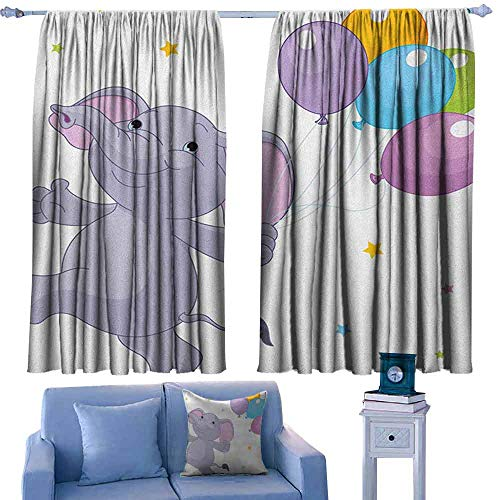 Mannwarehouse Nursery Bedroom Curtain Happy Elephant with Colorful Balloons and Stars Cheerful Fun Kids Cartoon for Living, Dining, Bedroom (Pair) 72