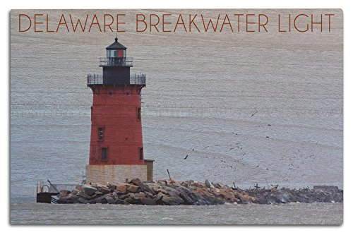 Lantern Press Lewes, Delaware - Cape Henlopen Lighthouse Day (12x18 Wood Wall Sign, Wall Decor Ready to Hang)