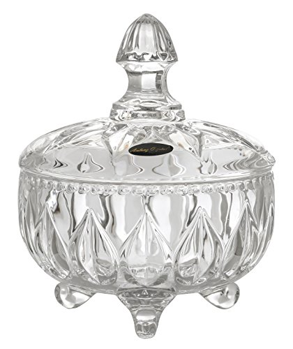 Amlong Crystal Lead Free Clear Crystal Candy Jar with (Crystal Jars)
