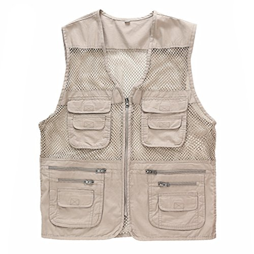 ZQXPP MJ114 Men's Outdoor Multifunction Multi-pocket Pierced Fishing Vest Photo Journalist's Vest Beige