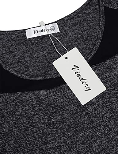 Vindery Active Shirt Long Sleeve Womens Dri-Fit Fitness Workout T-Shirt Sport Tops for Gym Ladies Exercise Tees Patchwork 2019 Cool Active Outdoor Clothes Cycling,Dark Grey M