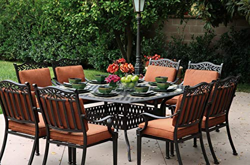 Patio Dining Set. Classic Style, Outdoor Furniture Kit Of Cast Aluminum Frame For Porch, Lawn, Pool, Garden, Balcony Diner, Seating 8 Person. Outside, Square Table, Chairs & Cushions (Antique Bronze) (Dining Chair Classics Garden Room)