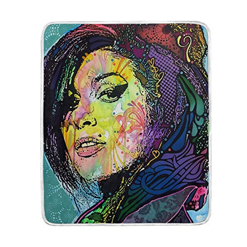 YOHHOY Amy-Winehouse-Back-to-Blue-Dean-Russo Home Decor Soft Warm Blanket for Bed Couch Sofa Lightweight Travelling Camping Throw Size for Kids Boys Girls 60 x 50 Inch ()