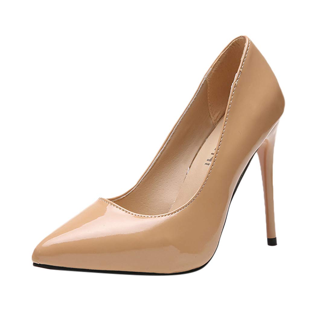 Tantisy ♣↭♣ Women's Pointed Toe High Heels/Sexy Slip On Pumps Stiletto/Wedding Party Basic Shoes/Business Shoes/11.5cm/4.6'' Beige