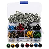 1Box(80PCS) 12mm 8 colours Plastic Safety Screw Eyes With Washers Toy Accessories for Doll Teddy Puppet Making And DIY Crafts