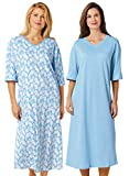 Carol Wright Gifts 100% Cotton Jersey Knit Sleep Tees, Color Cascade Blue Feather, Cascade Blue Feather, One Size Fits All