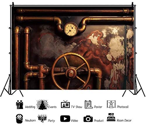 Steam Engine 8x10 FT Backdrop Photographers,Antique Old Iron Train Aged Sepia Grunge Style Design Industrial Theme Artsy Print Background for Baby Shower Bridal Wedding Studio Photography Pictures
