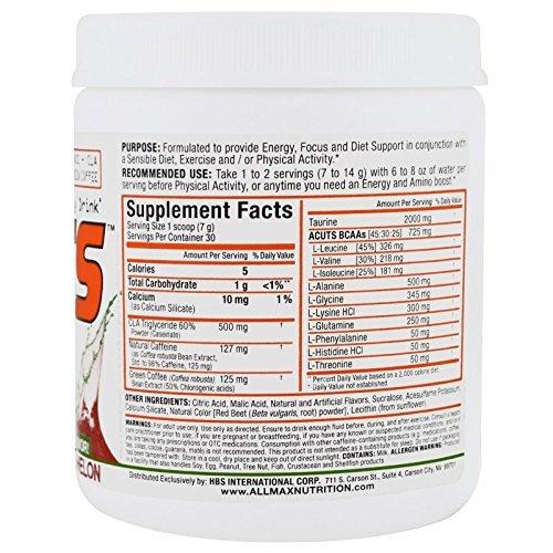 ALLMAX Nutrition AMINOCUTS ACUTS BCAA Taurine CLA Green Coffee Watermelon 7 4 oz 210 g