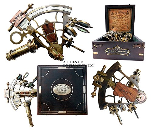 US Handicrafts J. Scott London Brass Ship History Sextant with Hardwood Box. Vintage Solid Antique Brass Nautical Functional Maritime Sextant | Nautical Navy Decor Gifts. from US Handicrafts