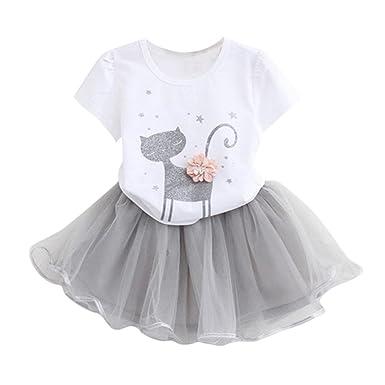 04af354ed1bc1 BYSTE Abito Bambina Ragazze Abiti Gatti 3D Fiori Manica Corta T-Shirt +  Gonna di Garza Vestito da Principessa Impostato  Amazon.it  Abbigliamento