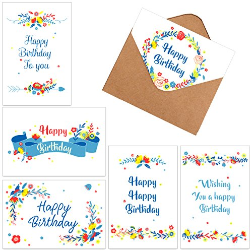 60 Assorted Happy Birthday Gift Cards, Folded Birthday Greeting Blank Note Cards - 6 Floral Designs - Includes 60 Cards in Bulk Box with Brown Kraft Paper Envelopes, 4 x 6 inch for Children and Adults