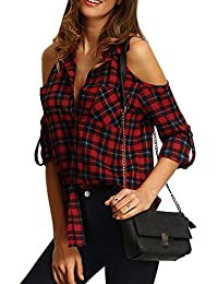 Zojuyozio Womens Casual Cold Shoulder Blouses Collared Plaid Shirt Top Tee