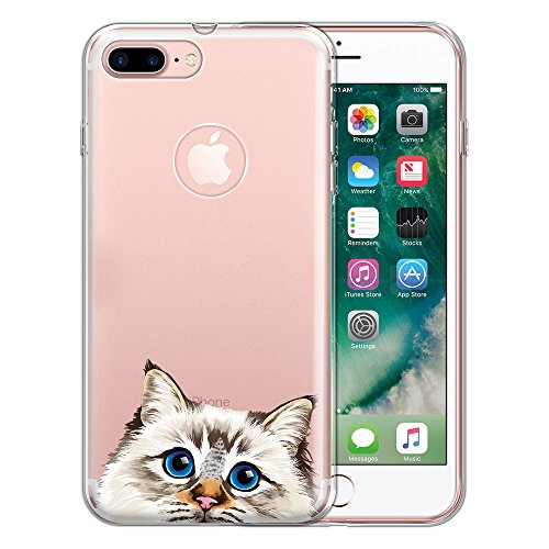 FINCIBO Case Compatible with Apple iPhone 7 Plus / 8 Plus, Clear Transparent TPU Protector Case Cover Soft Gel for iPhone 7 Plus / 8 Plus (NOT FIT iPhone 7/8) - Seal Lilac Tabby Point Birman Cat