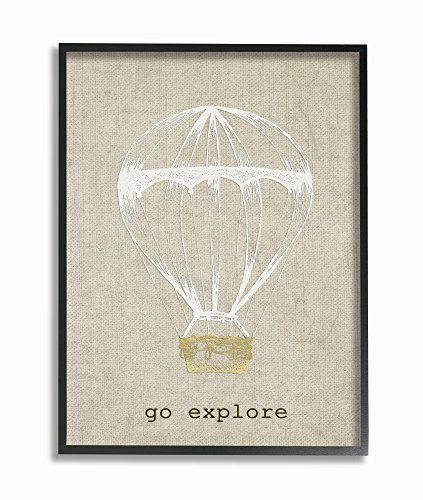 Stupell Home Décor Go Explore Hot Air Balloon Framed Giclee Texturized Art, 11 x 1.5 x 14, Proudly Made in USA
