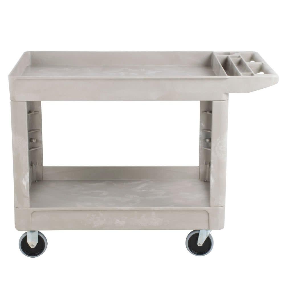 Rubbermaid Commercial Heavy Duty 2-Shelf Utility Cart, Flat Handle, Lipped Shelves, Medium, Beige FG452089BEIG