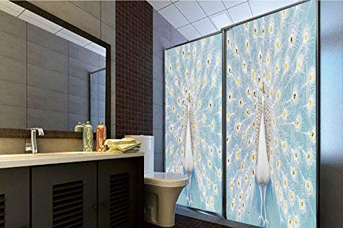 Horrisophie dodo No Glue Static Cling Glass Sticker,Peacock Decor,Decorative Peacock Pattern on The Wall Nature Colorful Stylish Ornate Artwork,39.37