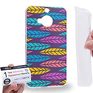 Case88 [HTC ONE M9+ (PLUS)] Gel TPU Carcasa/Funda & Tarjeta de garantía - Art Fashion Leaf Trend Purple Background Art1311