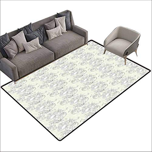 Large Floor Mats for Living Room Colorful Art Nouveau,Curved Romantic Bridal Branches Growth Feng Shui Bouquet Antique Classic,Ivory and White 36
