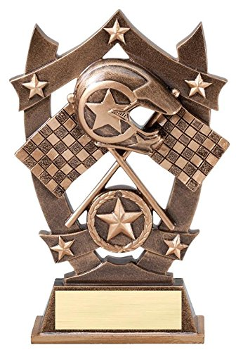 Pine Wood Derby Trophy (3D Gold Sports Stars Motocross Awards - Star Motocross Player Trophy - Customize Now - Personalized Engraved Plate Included and Attached to Award - Hand Painted Design - Decade Awards)