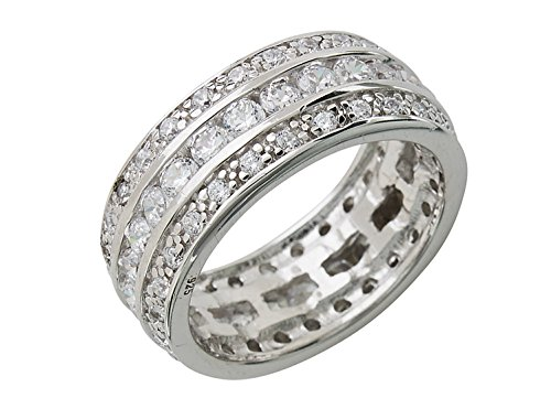 Eva's Wedding Band Ring - Triple Row CZs in Sterling Silver Size : 11