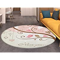 Love Round Area Rug Carpet Birds on Branch Abstract Heart Shapes Nature Environment Ornate Romance Print Living Dinning Room and Bedroom Rugs Blush Brown Beige