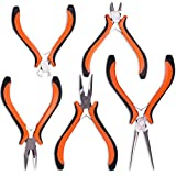 Expert 5-Piece Mini Pliers Set - Long Lasting Tool Set Cable Cutters Grip, Bend & Cut with Perfect Precision - Long Nose, Bent Nose, Diagonal Cutting, Round Head, Combination Pliers - by Nirford Tools