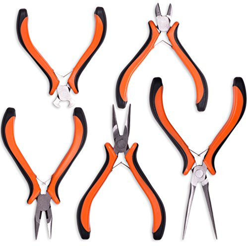 (Expert 5-Piece Mini Pliers Set - Long Lasting Tool Set Cable Cutters Grip, Bend & Cut with Perfect Precision - Long Nose, Bent Nose, Diagonal Cutting, Round Head, Combination Pliers - by Nirford Tools)