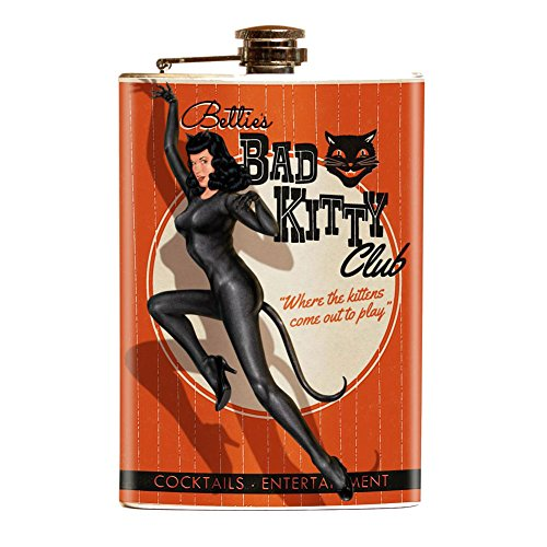 Bettie Page Bad Kitty Retro Pin Up Girl Stainless Steel ()