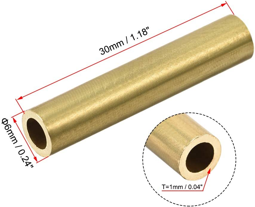 4mm OD 0.5mm Wall Thickness 30mm Length Seamless Pipe Tubing for DIY Crafts 20 Pcs uxcell Brass Round Tube