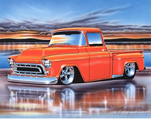 1957 Chevy 3100 Stepside Pickup Hot Rod Truck Art Print Orange 11x14 Poster