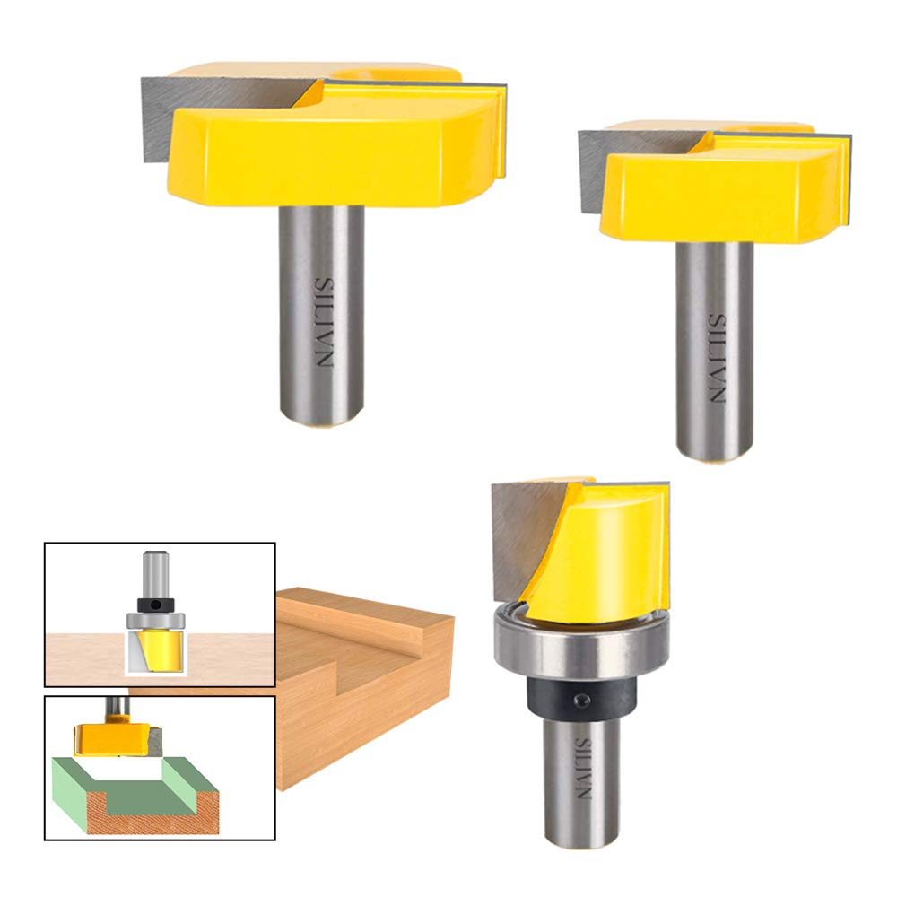 1/2 Inch Shank 2-1/4 Inch 1-3/4 Inch 1-1/4 Inch Diameter Bottom Cleaning Router Bit Woodworking Milling Cutter by SILIVN (3 Pack)