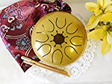 WuYou 7'' Steel Drum Tongue Drum UFO handpan Chakra Drum, Sun Shine Symble with Free bag and sticks, C tune (Gold)