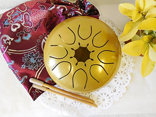 WuYou 7'' Steel Drum Tongue Drum UFO handpan Chakra Drum, Sun Shine Symble with Free bag and sticks, C tune (Gold) by WUYOU