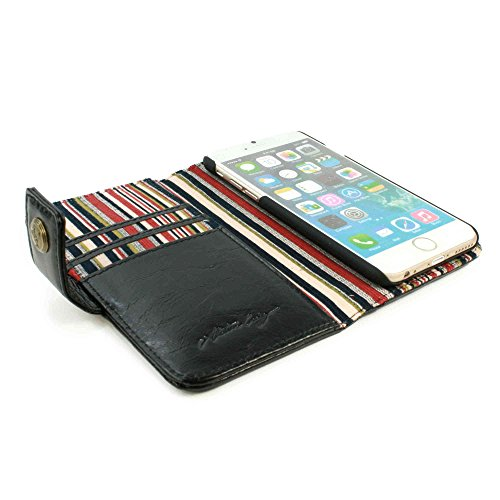 Alston Craig Vintage echt Leder Brieftaschen Case Hülle Tasche für Apple iPhone 6 (rot gestreift) (gratis Bildschirmschutz) - schwarz