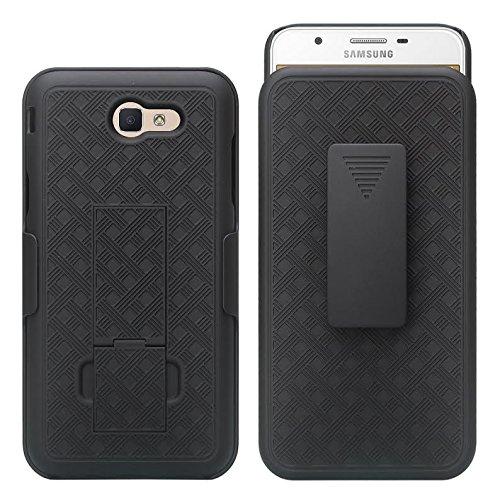 GALAXY WIRELESS Compatible For Samsung Galaxy J7v Case/J7 (2017) Case/J7 Prime Case/J7 Perx Case/J7 Sky Pro Case,Galaxy Halo Swivel Slim Belt Clip Holster Protective Case Cover [Kickstand] - Black by GALAXY WIRELESS (Image #1)