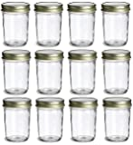 North Mountain Supply 8 Ounce Regular Mouth Mason Canning Jars - With Gold Safety Button Lids - Case of 12