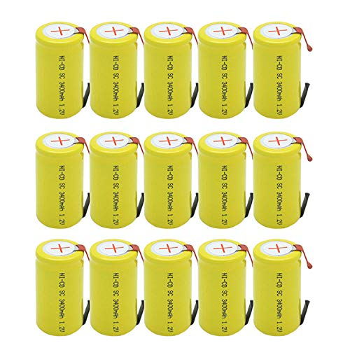 1.2v Cell - BAOBIAN SubC Sub C 3400mAh 1.2V Ni-CD Rechargeable Battery Cell with Tabs for Power Tools(15 Pcs)
