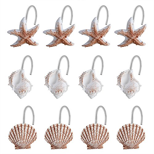 Winloop 12 PCS Seashell Starfish Conch Decorative Shower Curtain Hooks Bathroom Seashell Shower Curtain Hooks Sea Ocean Beach Shell for Bathroom,Baby room,Bedroom,Living room Decor(Sea Animals Hooks)
