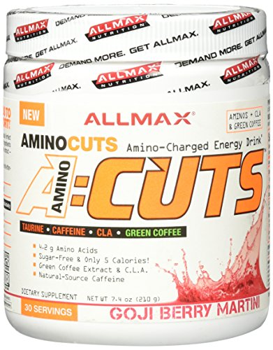 ALLMAX A:CUTS – Amino Charged Energy Booster Dietary Supplement, Goji Berry Martini, 210g, 30 Servings