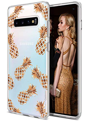 (Coolwee Galaxy S10 Case Rose Gold Pineapple Floral Case for Women Girl Men Foil Clear Design Shiny Glitter Hard Back Case with Soft TPU Bumper Cover for Samsung Galaxy S10 6.1 inch 2019 Pineapple)