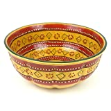 Hand-painted Large Round Bowl in Red - Encantada Pottery
